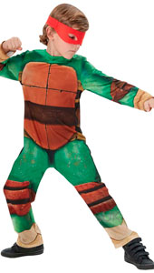 Teenage Mutant Ninja Turtle Costume includes printed jumpsuit and 4 eyemasks.