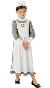 Girls WW1 Nurse Costume includes dress and headpiece.