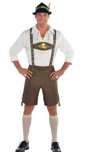 Mr Oktoberfest Fancy Dress Costume features brown lederhosen with embroidery-printed braces.  It also comes with a white shirt with lace-up detail at the collar,  white knee socks and a Bavarian felt hat with a feather accent