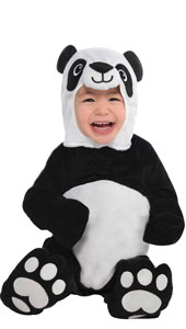 Baby Precious Panda Costume includes jumpsuit with attached hand covers, hood and booties