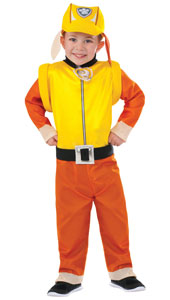 Paw Patrol Rubble Boys Costume includes jumpsuit, hat and pup pack.