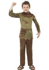 Horrible Histories Revolting Peasant Boy Costume includes trousers and tunic with attached pouch belt.