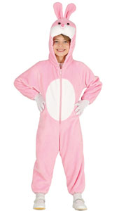 Pink Bunny Costume includes jumpsuit with hood and tail