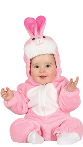 Baby Pink Bunny Costume includes jumpsuit with hood and tail