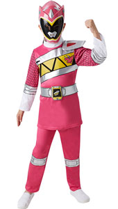 Girls Dino Charge Pink Power Ranger Costume includes top, trousers and mask.