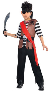 Boys Ahoy Captain Pirate Costume includes shirt, trousers, head wrap and sash.
