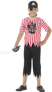 Jolly Pirate Boy Costume includes top, trousers, bandanna and eyepatch.