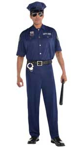 On Patrol classic police costume. The blue police officer shirt features an embroidered patch on the sleeve with City Cop printed on the front. This friendly neighbourhood cop costume also includes the trousers, cop hat and belt.