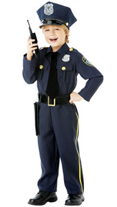 Child Police Officer Costume includes hat, shirt with attached tie, trousers with holster and toy walkie talkie.