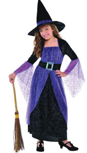Our Girls Pretty Potion Witch Costume features a long black crushed velour dress with a sheer purple overlay that has a swirled glitter design. Bell sleeves feature sheer purple fabric as well, and dress has an attached belt with cloth iridescent buckle.