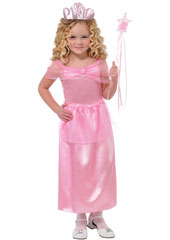 Lil Princess Costume includes a pink satin dress with matching tiara.