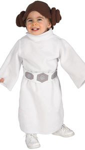 Your little one can join the rebellion and battle the dark side in this cute robe with trademark hairstyle headpiece, even if she can't quite see reach the pedals of her starship yet.