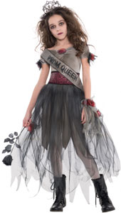 Zombie Prom Queen Costume includes:  Tiara Dress Sash Corsage