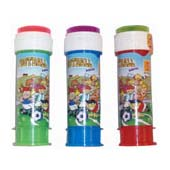 60ml tube of Football Theme Soap Bubbles.  Lid contains ball maze game.  Tube length 11cm.