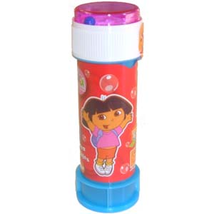 60ml tube of Dora Theme Soap Bubbles.  Lid contains ball maze game.  Tube length 11cm.