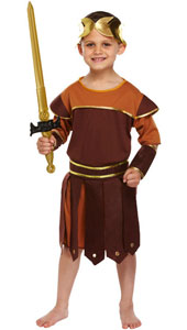 Child Roman Soldier Costume included headpiece, robe, cuffs and belt