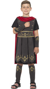 Roman Soldier Costume, Black, with Tunic, Attached Cape, Arm & Leg Cuffs