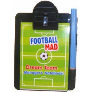 Football Managers Pad with Clipboard and Pencil, in cellophane wrapping.  Clipboard measurements 11cm * 8cm.