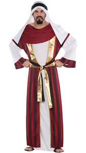 The Sahara Prince Costume features a white and red khameez with gold trim and attached gold and black waist sash. It also comes with a white keffiyeh, a traditional headdress of the Middle East.