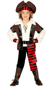 Boys Seven Seas Pirate Costume includes shirt  waistcoat  belt  trousers  boot covers  hat and headband