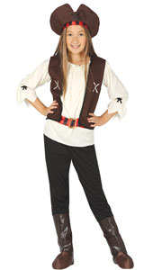 Girls Seven Seas Pirate Costume includes shirt  waistcoat  belt  trousers  boot covers  hat and headband