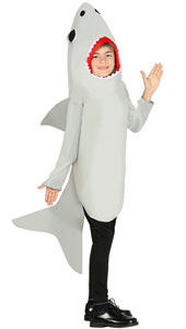 Child Shark Costume includes tunic with hood and sleeves