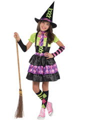 Girls Spellbound Witch Costume includes:  Dress Attached braces Hat Tie Arm warmers Socks