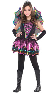 Girls Spider Fairy Costume includes:  Dress Attached collar Arm warmers Wings Tiara