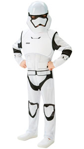 Star Wars The Force Awakens, Deluxe Storm TrooperCostume. Printed jumpsuit with padded chest and 1/2 mask.