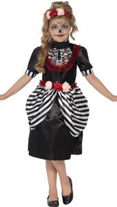 Sugar Skull Girls Halloween Costume includes dress with matching rose headband.