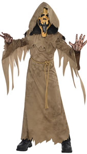 Swamp Creature Child Costume  includes:  Robe Attached hood Attached neck collar Belt Latex Mask Gloves