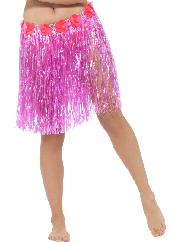 short pink hawaiian luau grass skirts