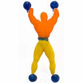 "Wall Walker Super Climber.  Throw against the glass and see him come tumbling down.  Available in an assortment of colours.  Height 10cm (4"")."