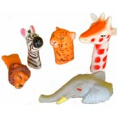 Plastic Wild Animals Finger Puppet.  Available in 5 assorted designs.  6cm - 10cm length.