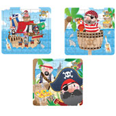 Pirate Puzzle.  13cm * 13cm.  Available in an assortment of 3 different pirate pictures.