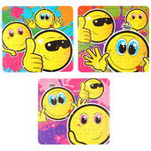 Smiley Face Puzzle.  13cm * 13cm.  Available in an assortment of 3 different smiley face pictures.