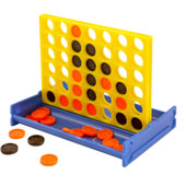 Just like the standard Connect 4 game, but in miniature.  Each game is individually wrapped in cellopane and measures 8cm * 6cm.