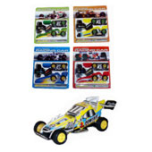 Racing Car 3d Puzzle.  Pull out and assemble the cardboard parts and plastic wheels to create a cool racing car.