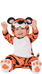Baby Tiny Tiger Costume includes hood, jumpsuit with attached tail and booties