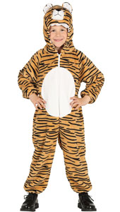 Child Tiger Costume includes jumpsuit with hood and tail