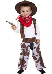 Dress Up Toddler Cowboy Costume includes  chaps, hat, waistcoat and neckerchief.