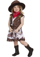 Dress Up Toddler Cowgirl Costume includes  skirt, belt, hat, waistcoat and neckerchief.
