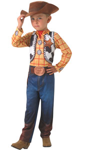 Toy Story Classic Woody Boys Fancy Dress Costume includes jumpsuit and hat.