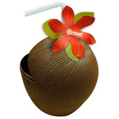 Coconut Cup with Flower and Straw.