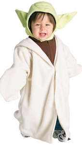 Cute this little jedi master looks in Yoda's trademark robe and ears.