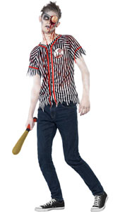 Teenage Zombie Baseball Player Costume, includes top, eyepatch and wadded baseball bat.