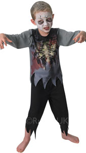 Spooky zombie - give your trick or treat victims a closer look at your gory rib cage, poking through your tattered shirt. Contains top and trousers.