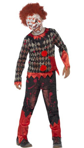 Deluxe Zombie Clown Boy Costume includes top, trousers and latex mask with hair.