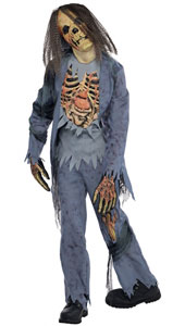 Corpse Zombie Costume includes:  Shirt Trousers Latex Mask Gloves