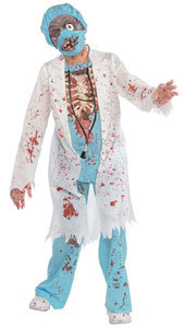 Surgeon Zombie Costume includes: Jacket Attached shirt Trousers Cap Latex Mask Gloves